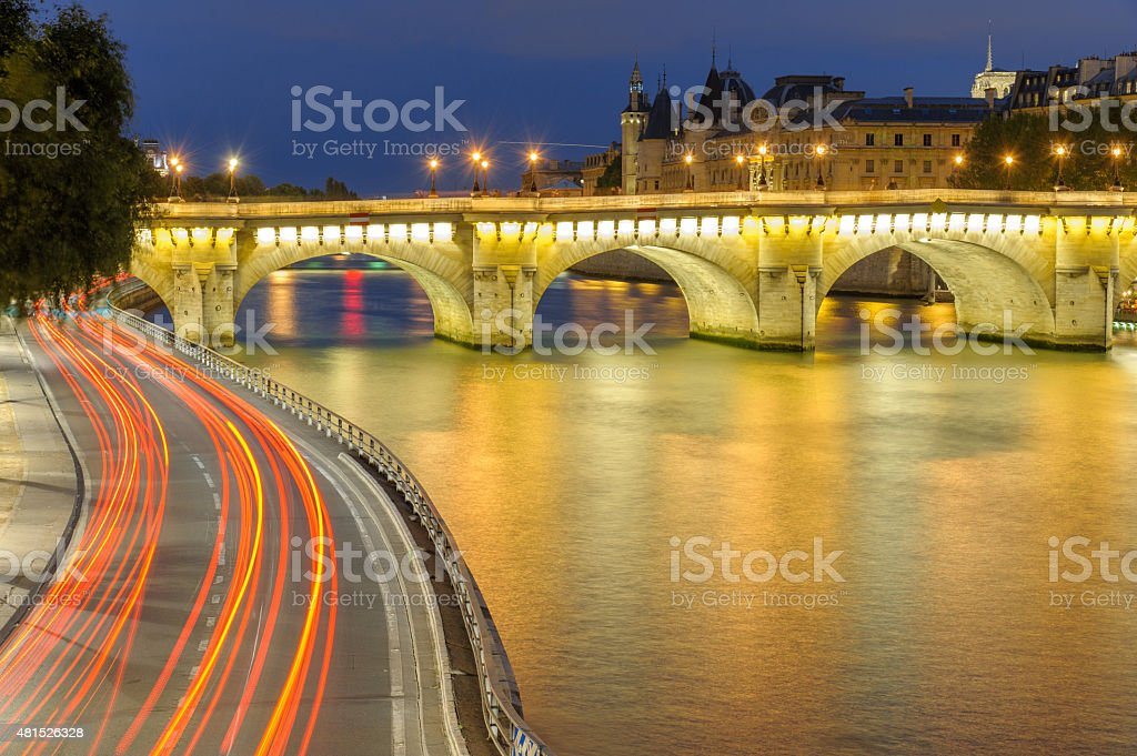 Night scene of Paris stock photo