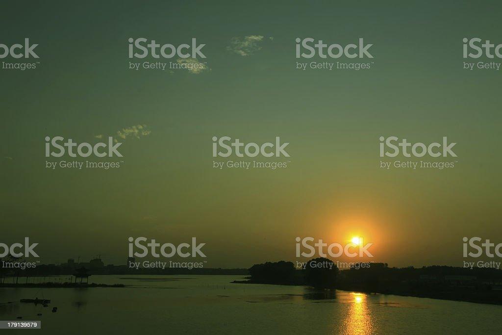 night scene of river royalty-free stock photo
