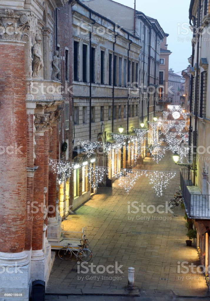 Night scene of the city of Vicenza with Christmas lights in Ital stock photo