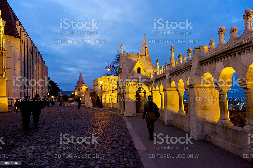 Night scene of the Fisherman's Bastion in Budapest stock photo