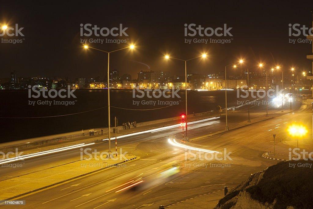 Night Scene of the Malecon Sea Wall in Havana Cuba royalty-free stock photo