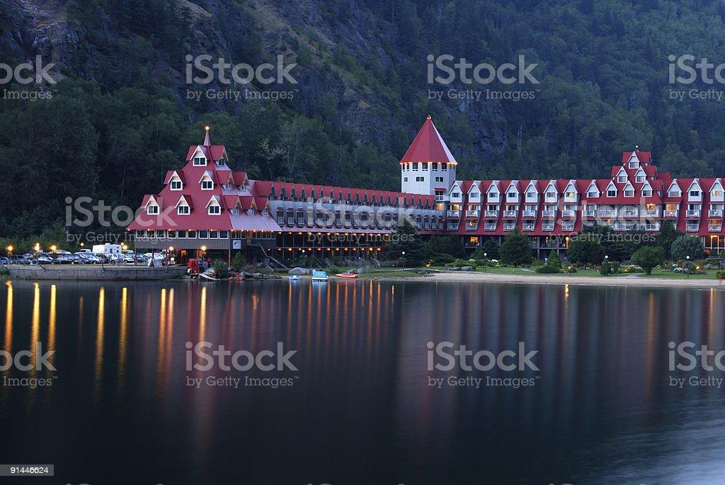 night scene of three valley lake chateau royalty-free stock photo