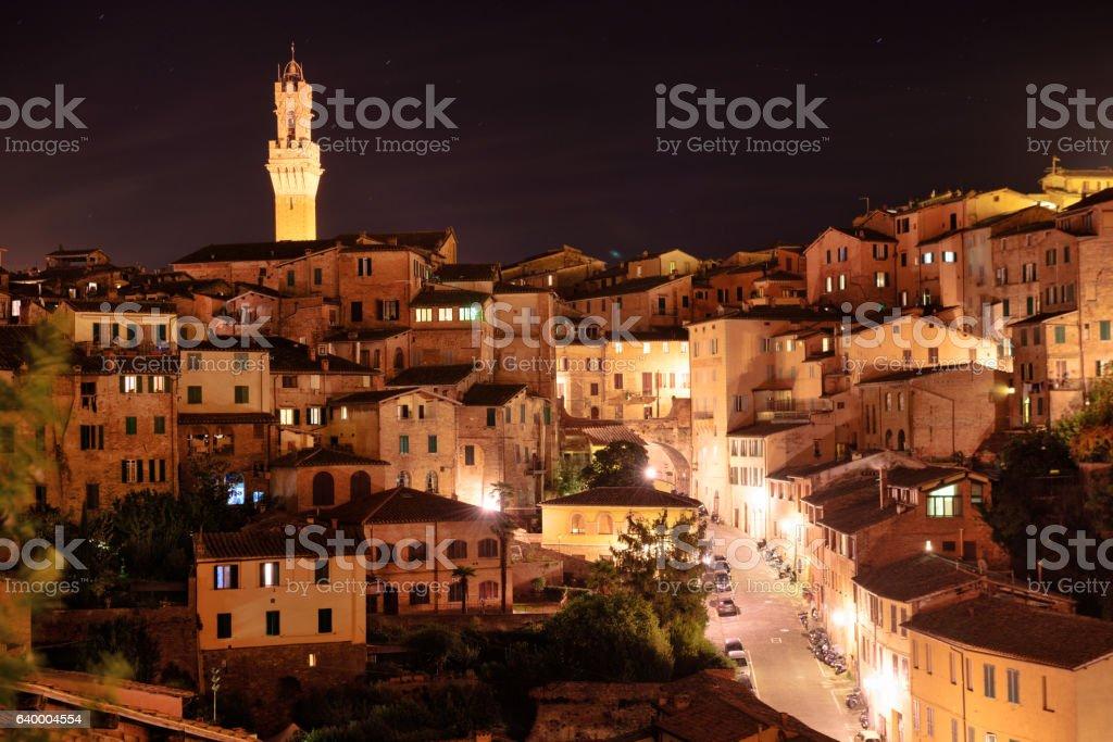 Night scene, old town,  Siena, Italy stock photo