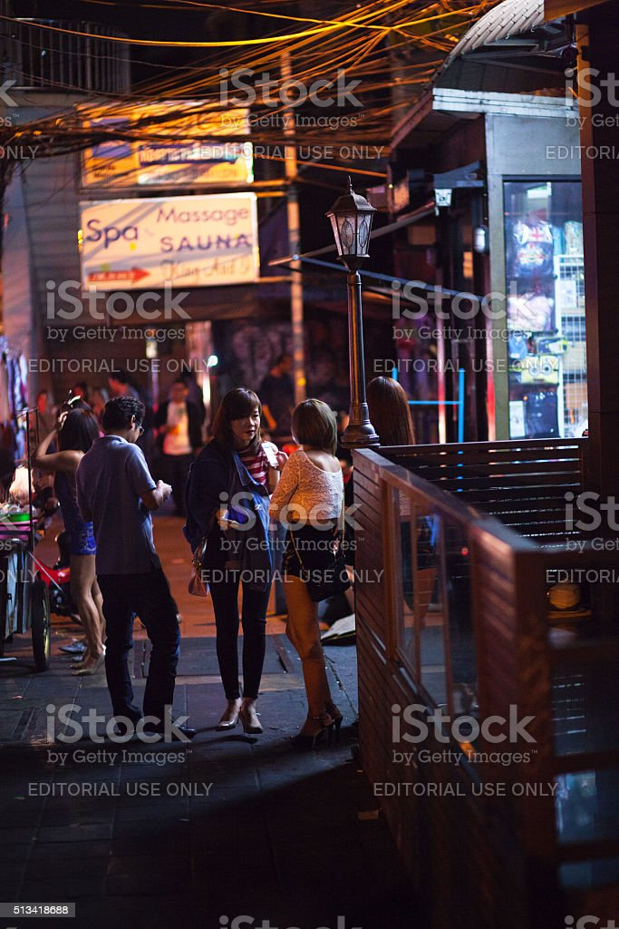 Night scene on Sukhumvit Road stock photo