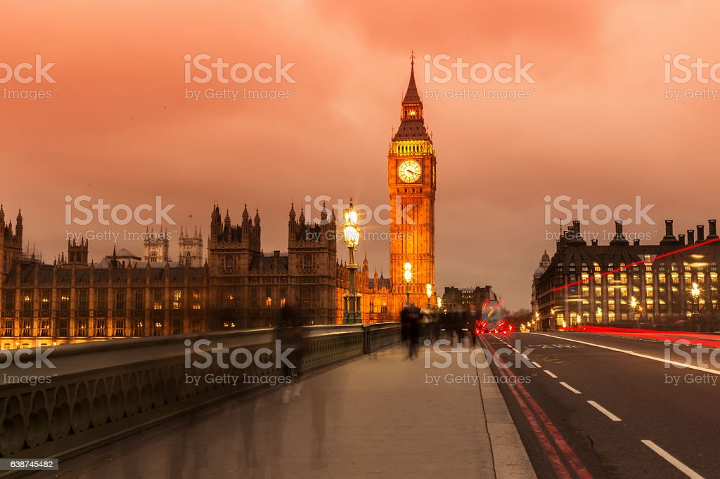 Night Scene with Cars' Tails in front of Big Ben stock photo