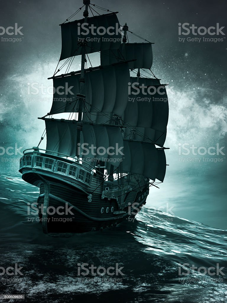 Night scene with  old ship stock photo