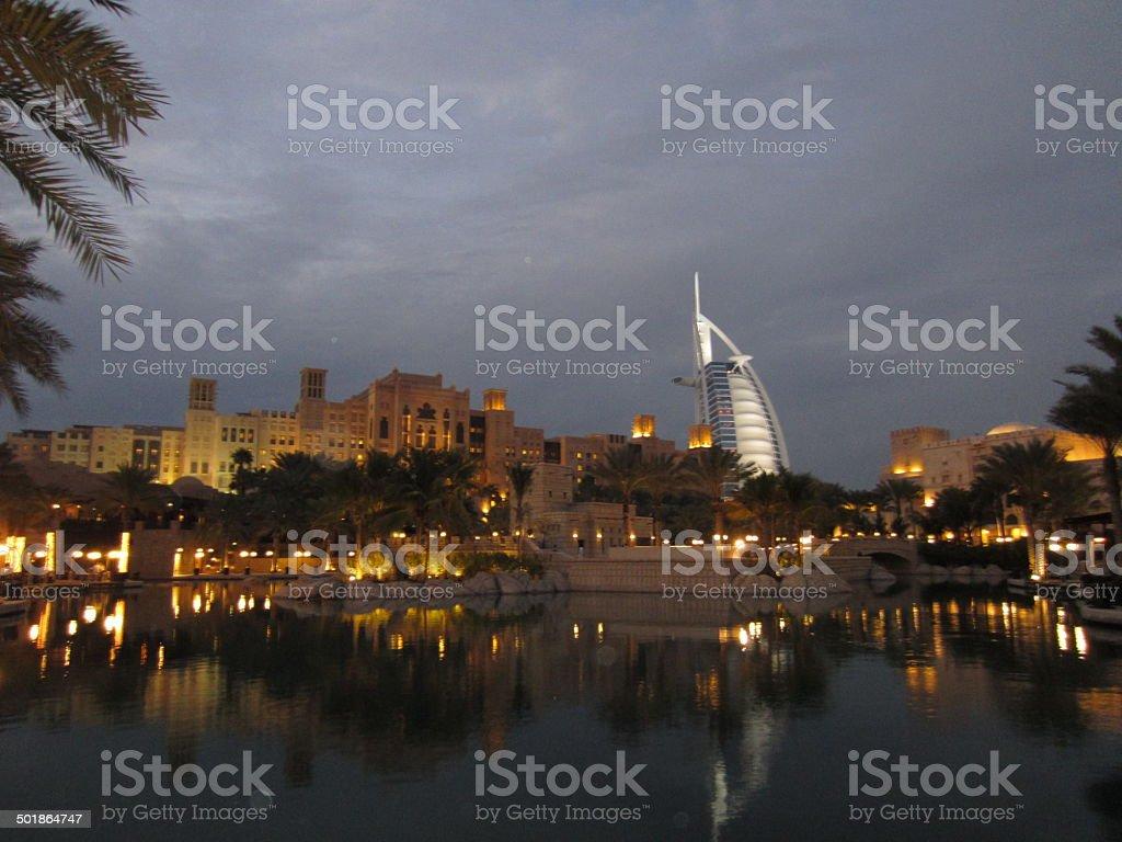 Night scenery of Burj Al-Arab, Dubai stock photo