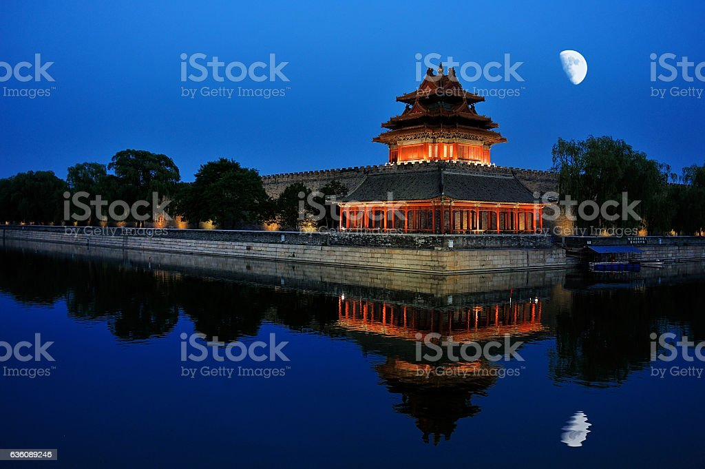night scenery of the Forbidden city in Beijing, China stock photo