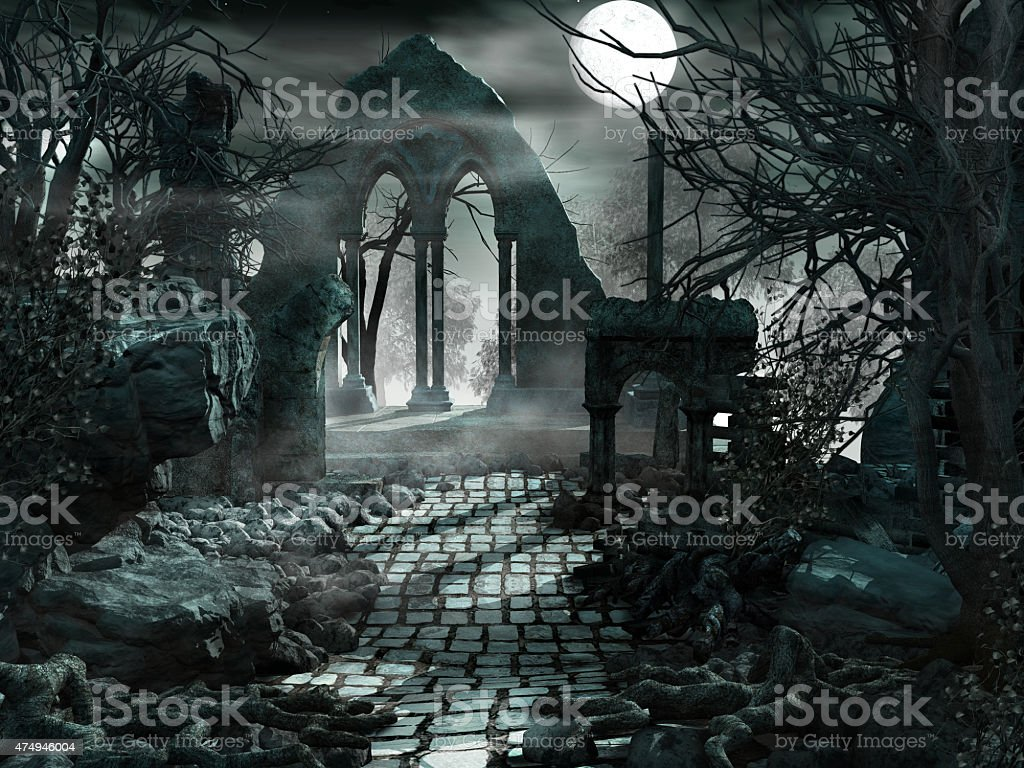 Night scenery with moon and ruins stock photo