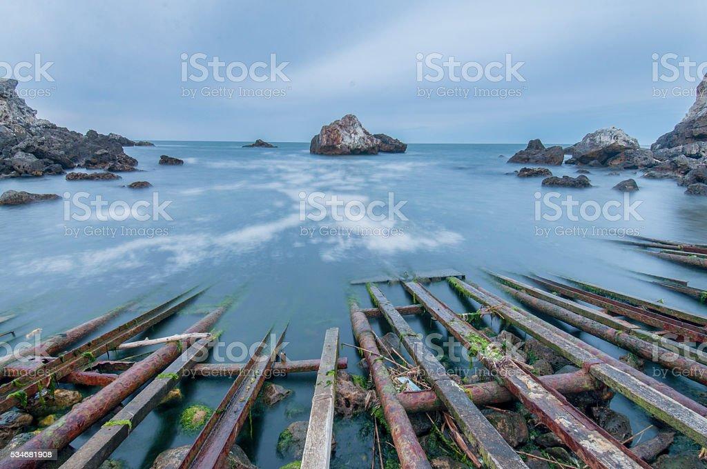 night, sea, bay stock photo