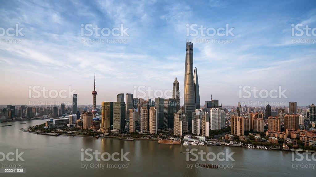 night shanghai skyline with reflection ,beautiful modern city stock photo
