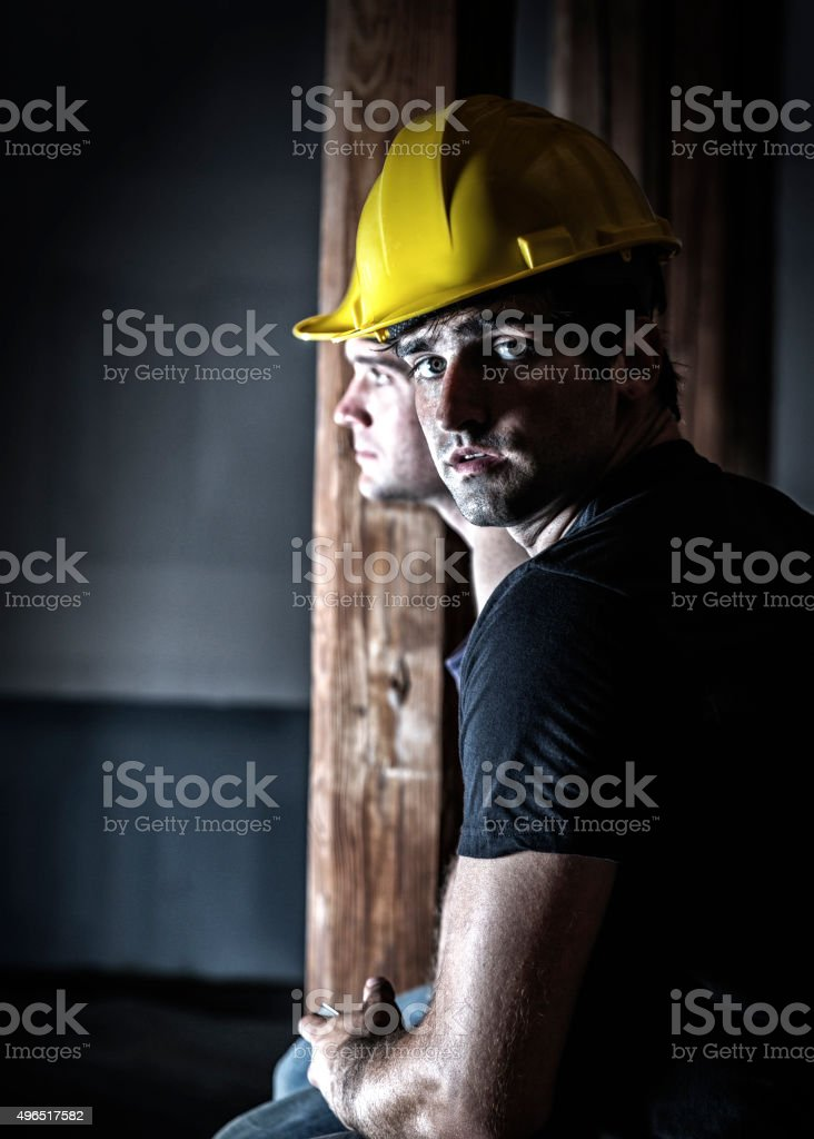 Night Shift Construction Workers Rest Break stock photo