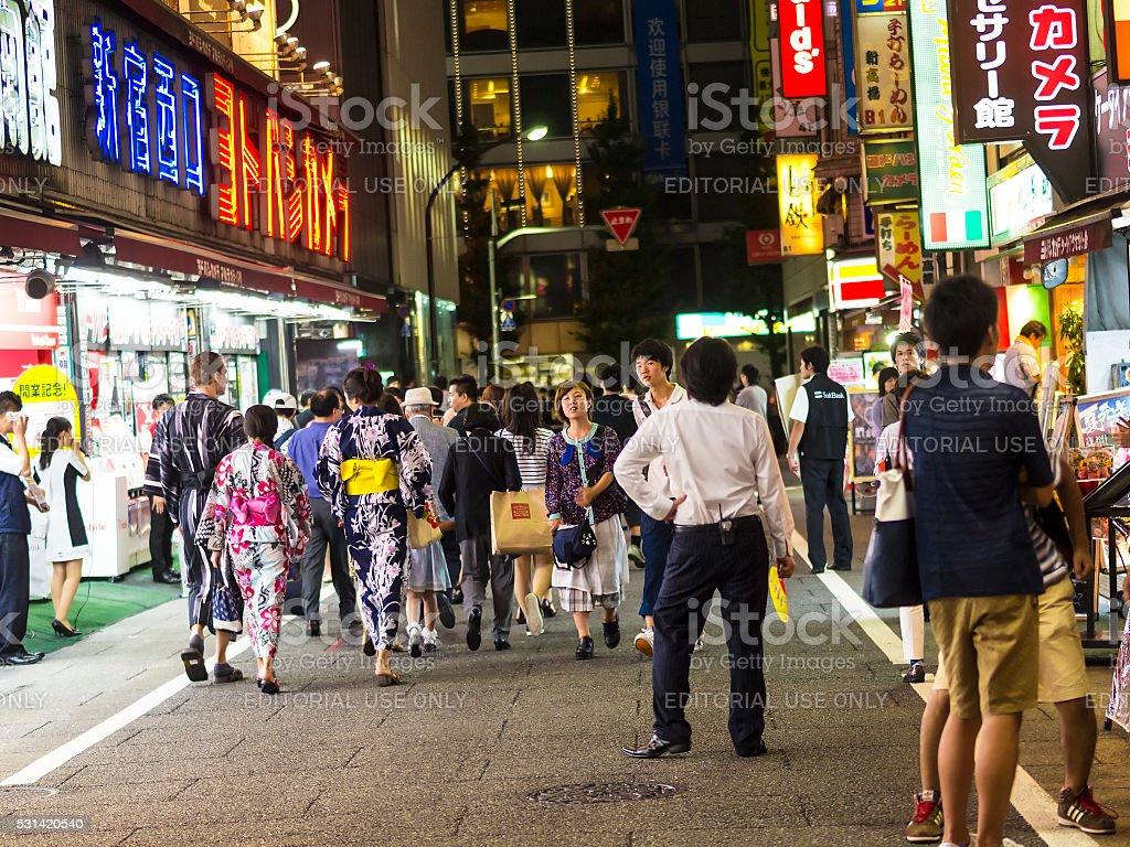Night shoping at Shinjuku, Tokyo stock photo
