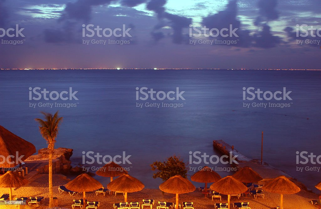 Night shot at perfect beach royalty-free stock photo