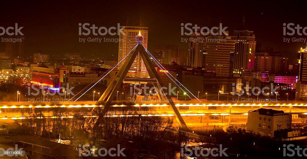 Night Shot Bridge Xining City Qinghai Province China stock photo