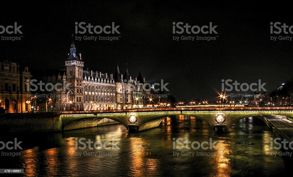 night shot for the sene river in paris stock photo