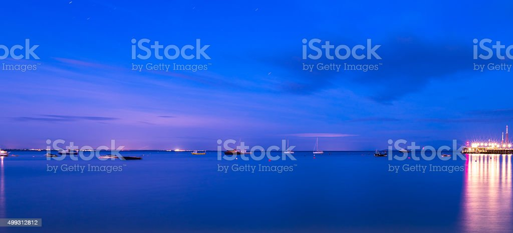 Night shot from Swanage out to sea stock photo