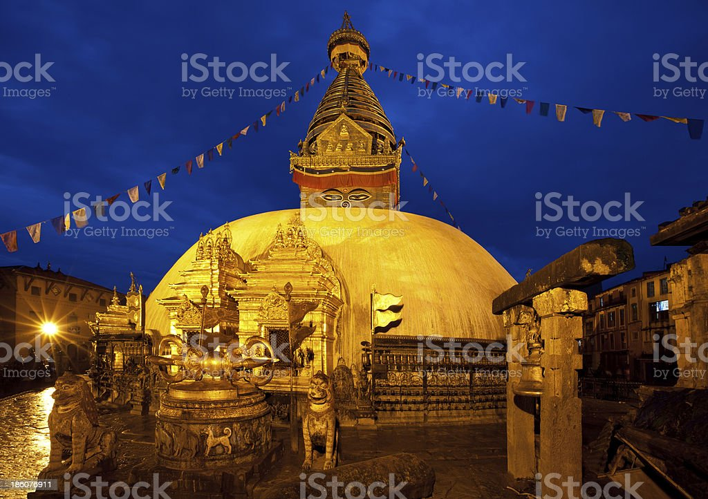 Night Shot from Swayambhunath Temple in Kathmandu royalty-free stock photo