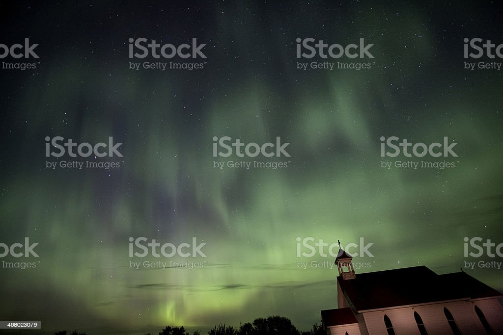 Night Shot Northern Lights Country Church royalty-free stock photo