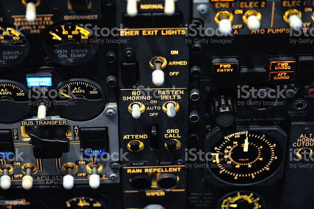 Night Shot of an Airliner's Overhead Panel royalty-free stock photo