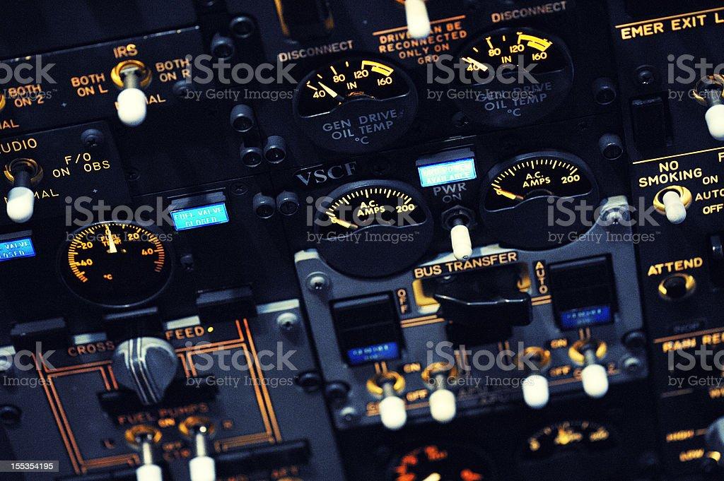 Night Shot of Boeing 737-300 Overhead Panel stock photo