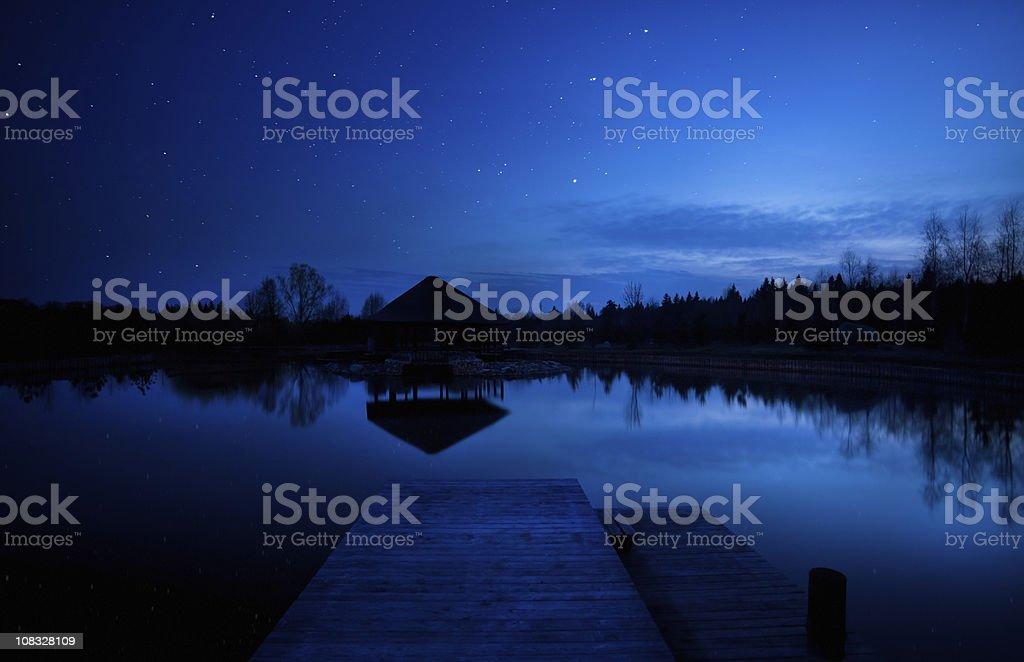 Night shot of bridge and lake royalty-free stock photo