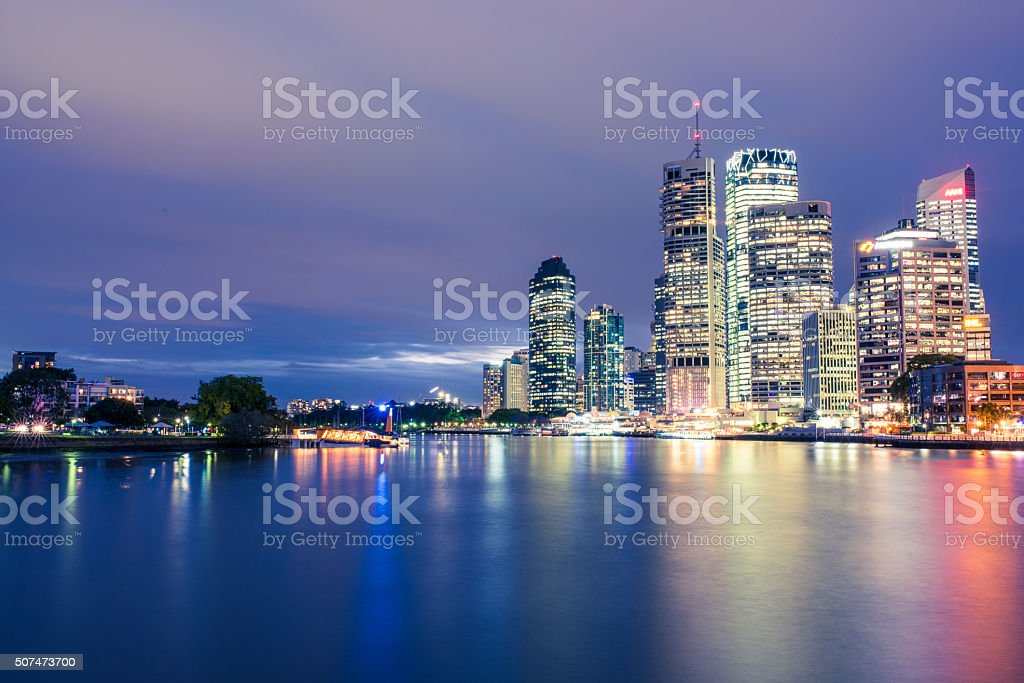 Night shot of Brisbane city stock photo