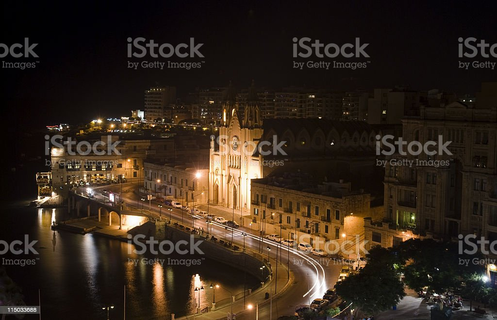 night shot of cathedral in maltese island - st julian royalty-free stock photo
