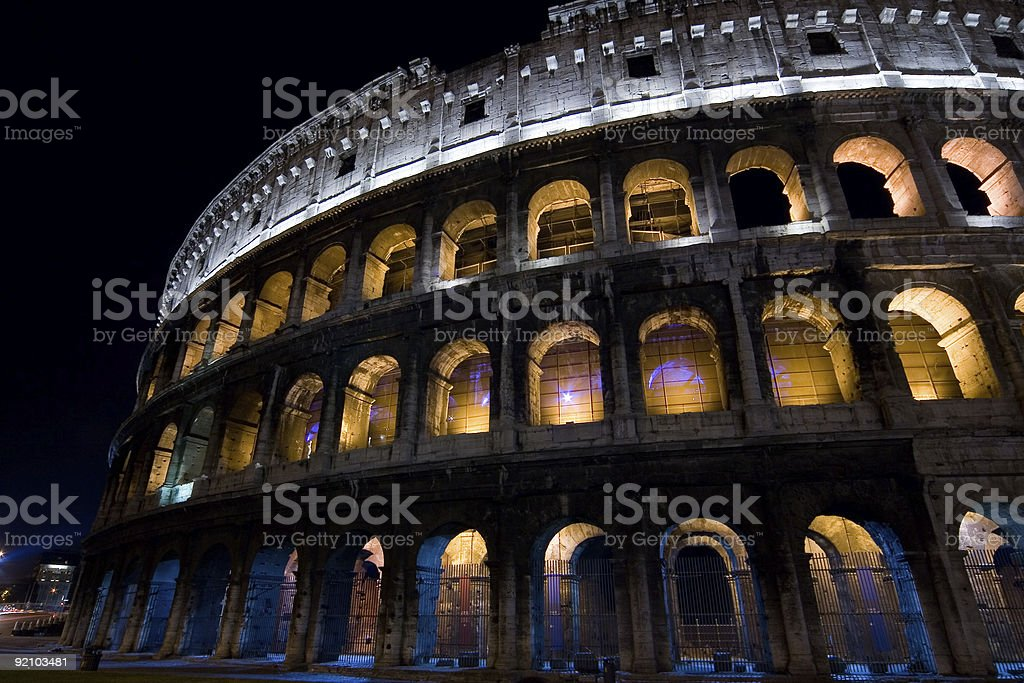 Night shot of colleseo royalty-free stock photo