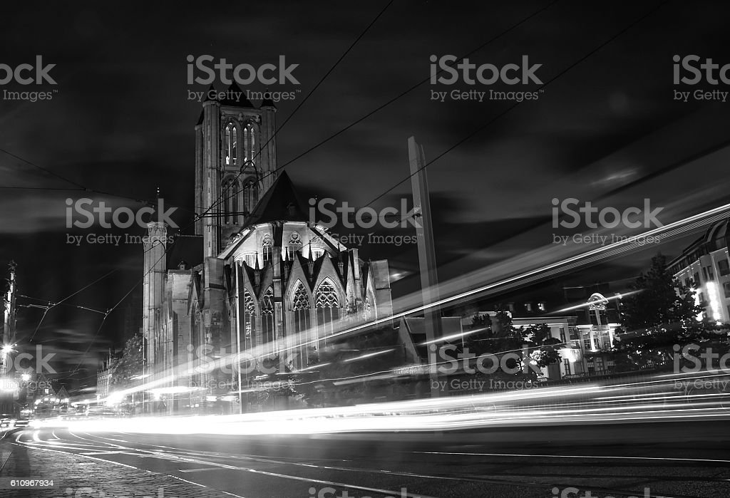 Night shot of historic medieval buildings in Ghent, Belgium stock photo