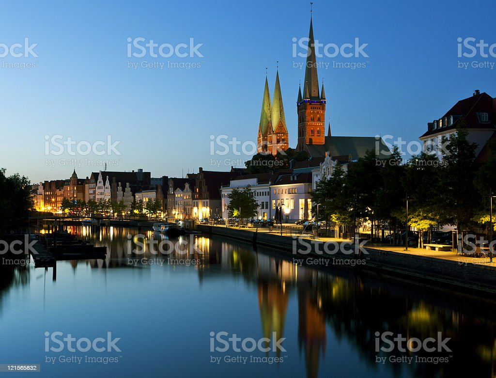 Night shot of Lubeck old town royalty-free stock photo