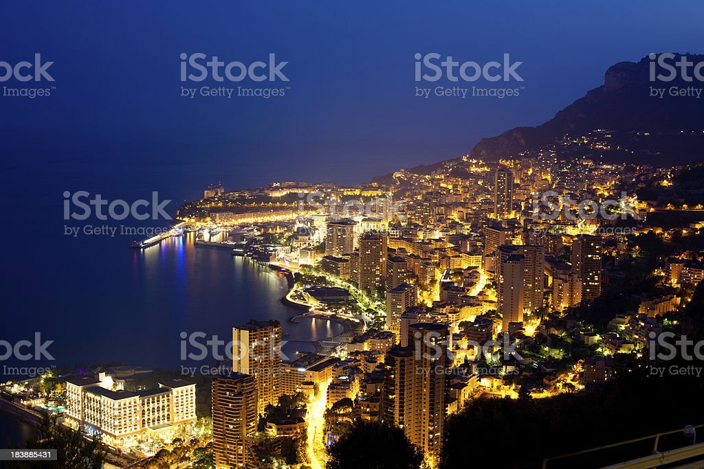Night shot of Monte Carlo from Cote d'Azur, France stock photo