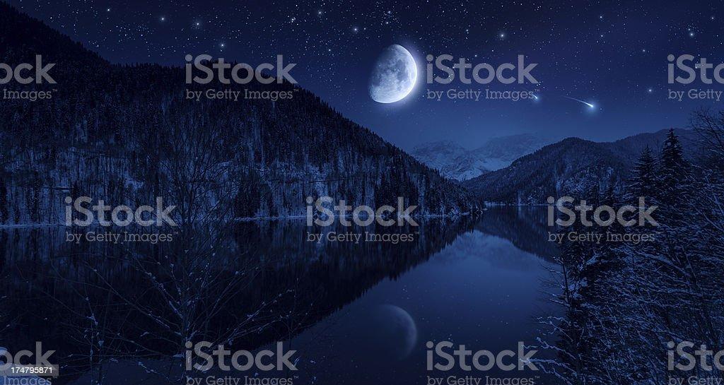 Night shot of mountains and lake stock photo