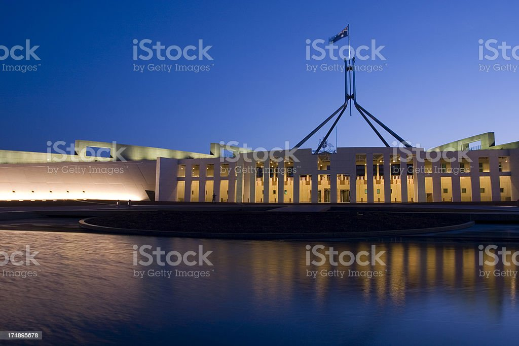 night shot of parliament house stock photo