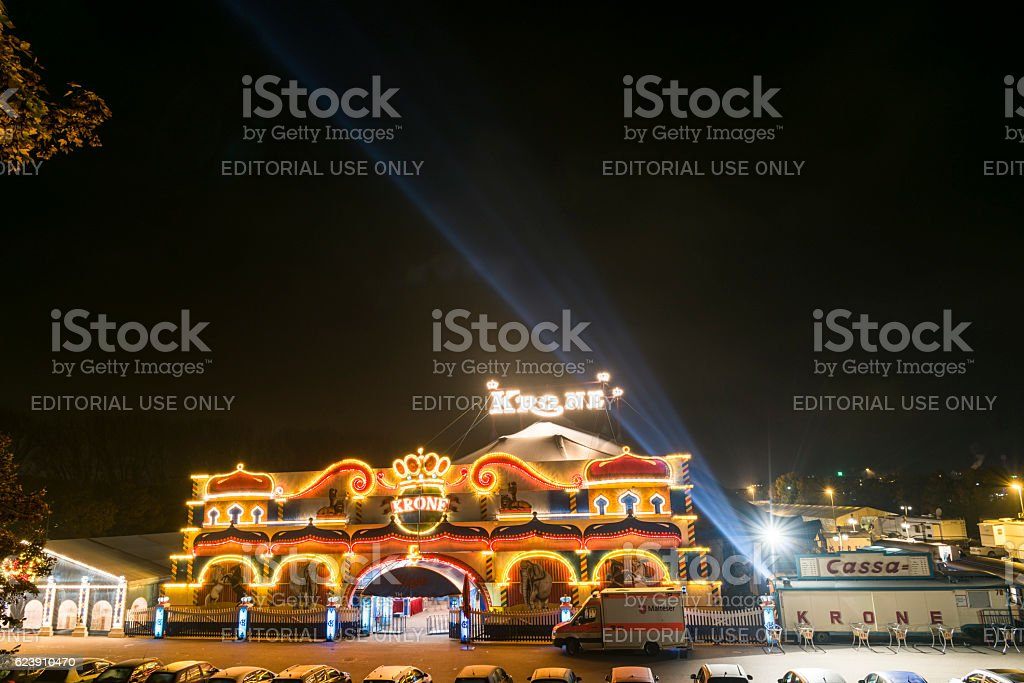 Night shot of the circus Krone in Regensburg stock photo
