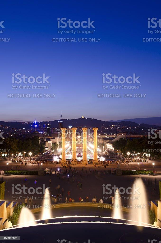 Night shot of the Magic Fountain and Barcelona skyline stock photo