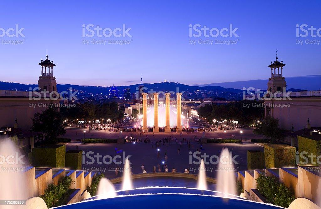 Night shot of the Magic Fountain, Barcelona, Spain stock photo
