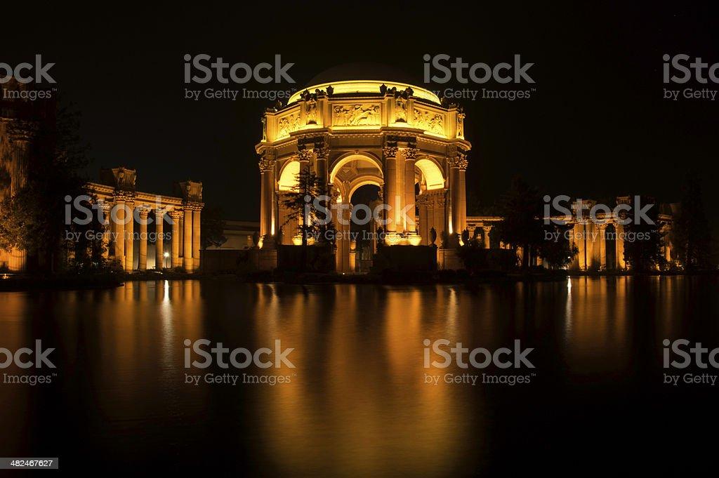 Night shot of the Palace of Fine Arts stock photo