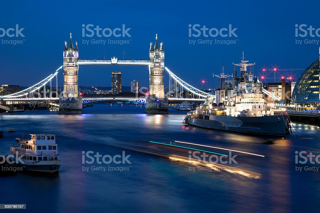 Night shot of Tower Bridge and the City royalty-free stock photo