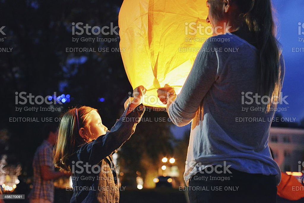 Night Show Launch Chinese lanterns into the sky. Unforgettable f stock photo