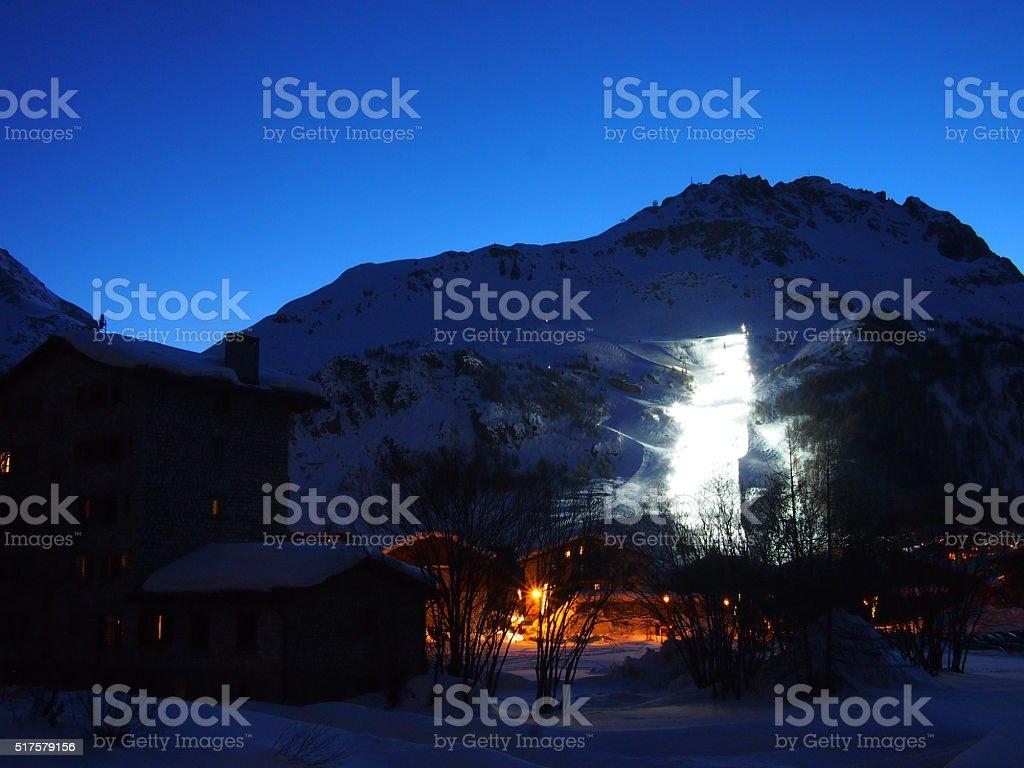 Night Skiing at sunset stock photo