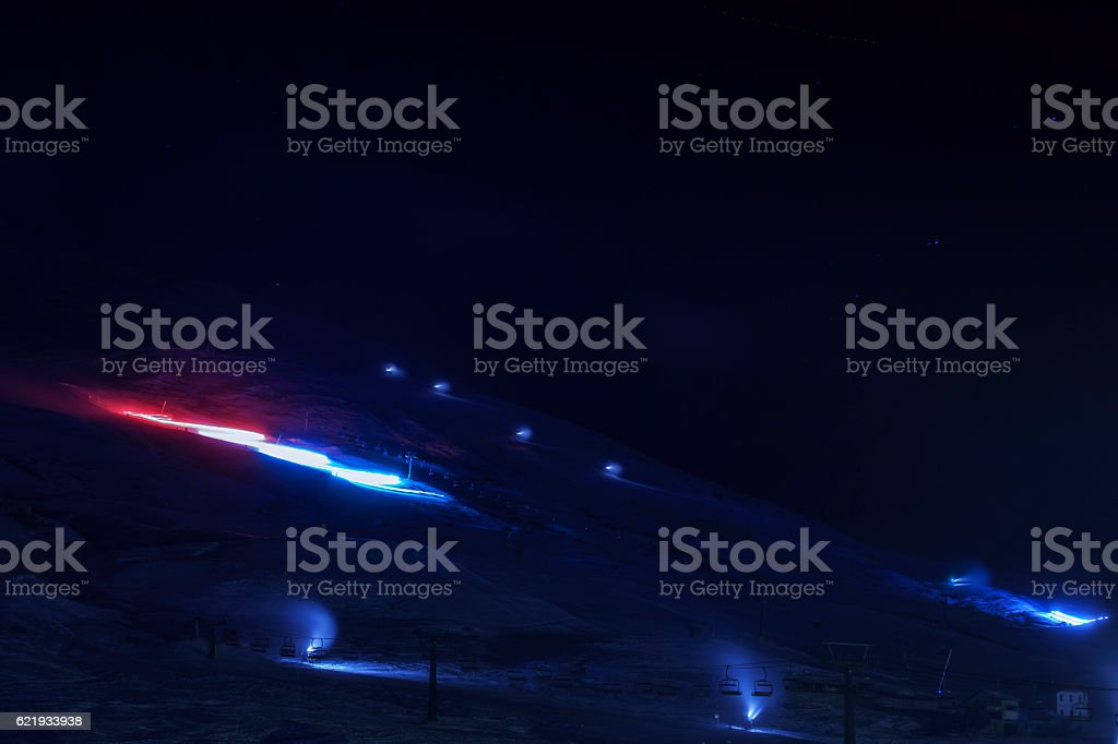 Night skiing    Modern ski resort stock photo