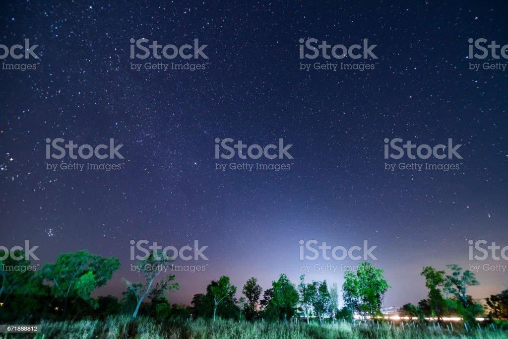 A night sky full of stars stock photo