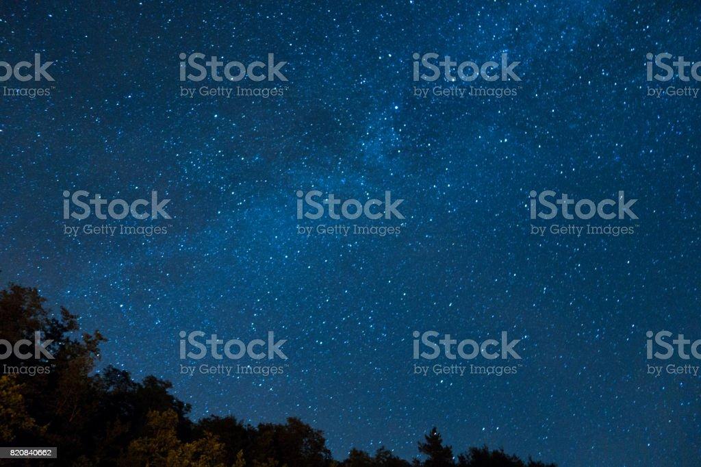 Night sky full of stars stock photo