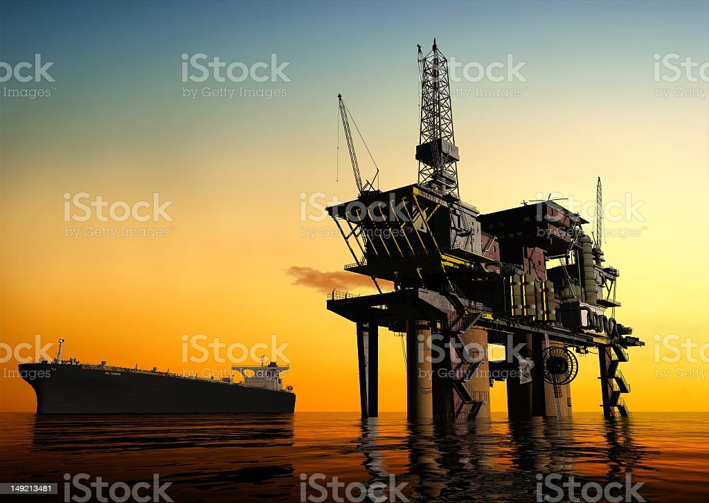 A night sky image of the production of petroleum royalty-free stock photo