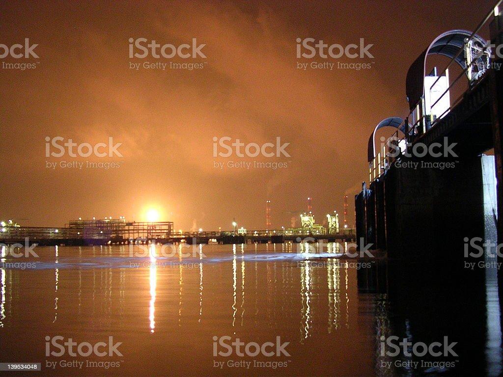Night Sky in Petrol Chemical Port stock photo