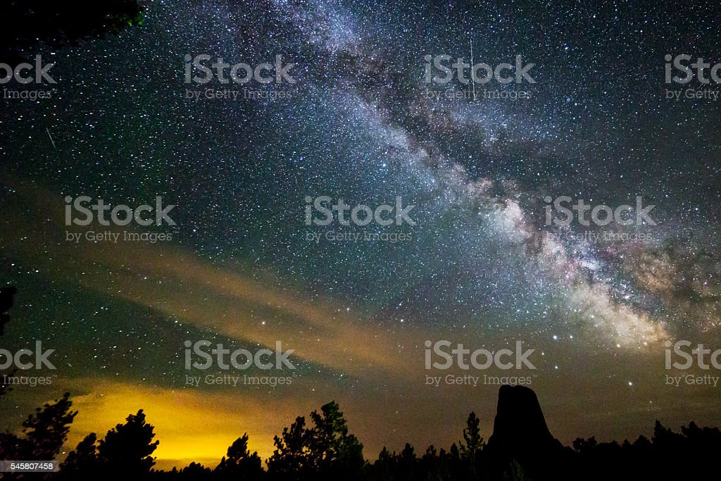 Night Sky Milky Way Galaxy at Devils Tower Monument stock photo