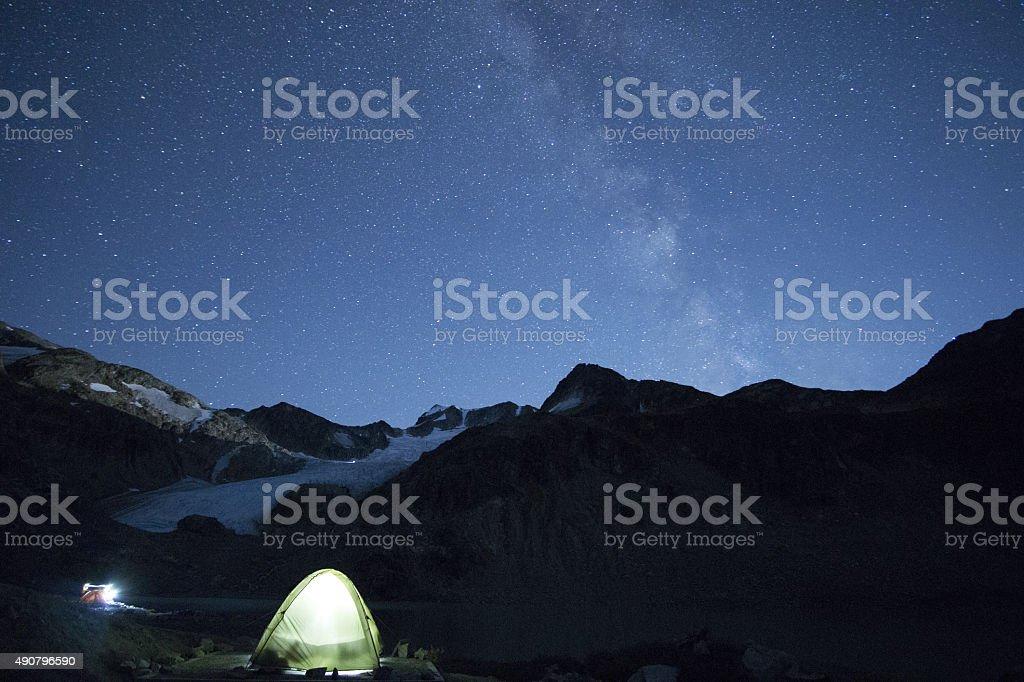 Night sky mountaineering stock photo
