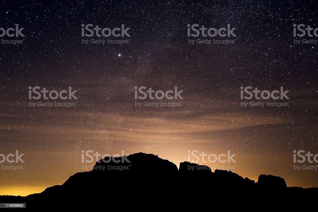 Night sky on desert of Wadi Rum stock photo