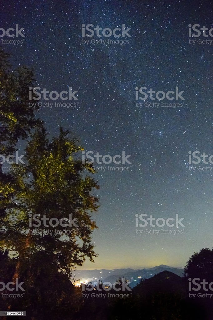 Night Sky on Mountain Top stock photo
